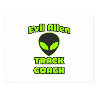Evil Alien Track Coach Postcard