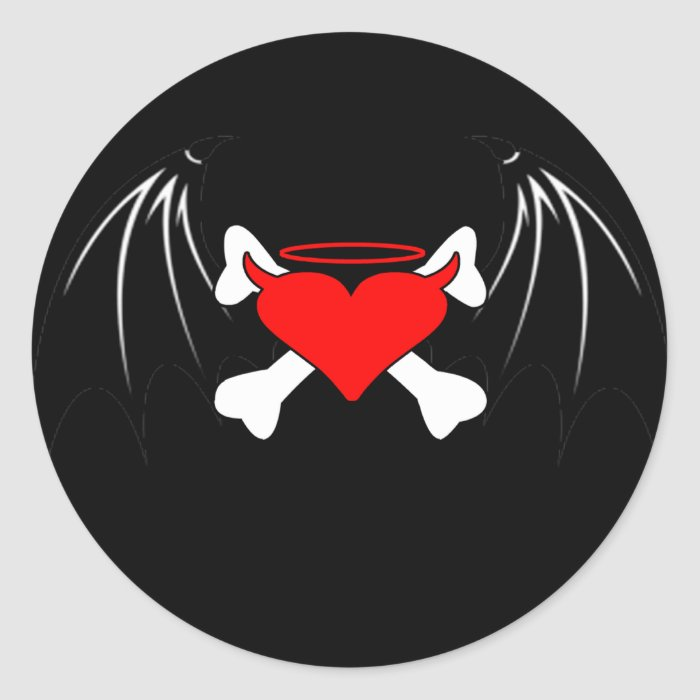 Evil Angel Heart Round Sticker