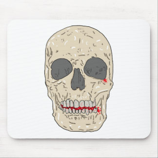 Evil bloody and ravaged skull mouse pad