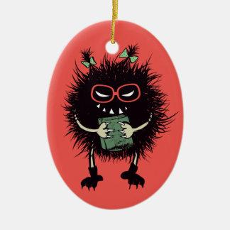 Evil Bug Book Lover Geek Halloween Christmas Ornament