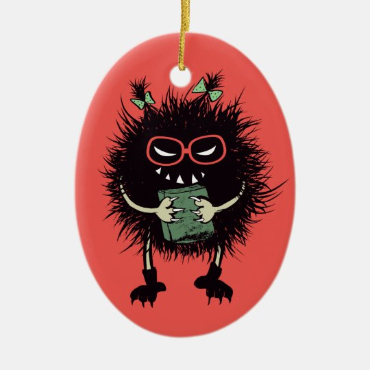 Evil Bug Book Lover Geek Halloween Christmas Ornament