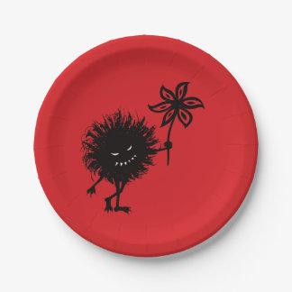Evil Bug Gives Flower Vintage Gothic Paper Plate