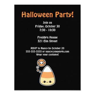 Evil Candy Corn Halloween Party Card