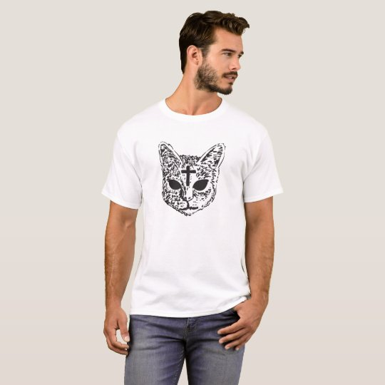 Evil Cat Cross Design T-Shirt - White