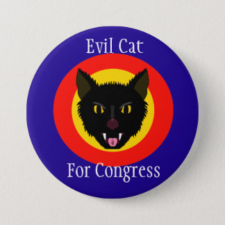 Evil Cat for Congress 3 Inch Button