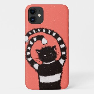 Evil Cat In Snowy Winter Case-Mate iPhone Case