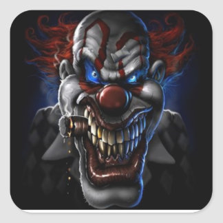 Evil Clown And Cigar Square Sticker