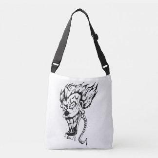 Evil clown cross body tote bag