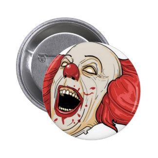 Evil clown design 6 cm round badge