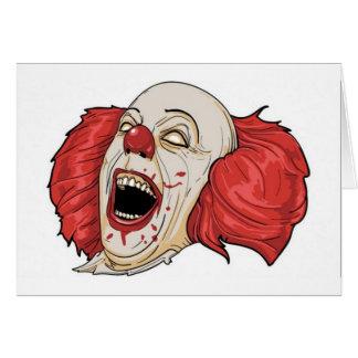 Evil clown design greeting card