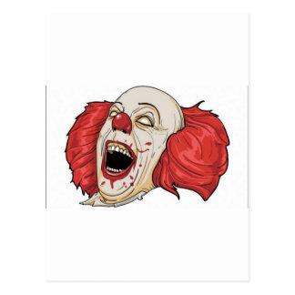 Evil clown design postcard