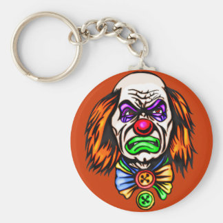 Evil Clown Face Basic Round Button Key Ring