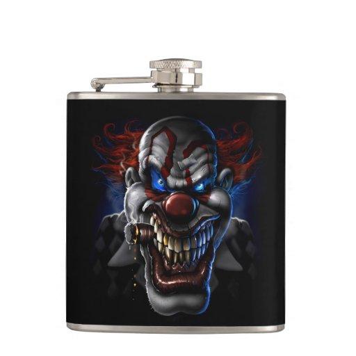 Evil Clown Face Hip Flask