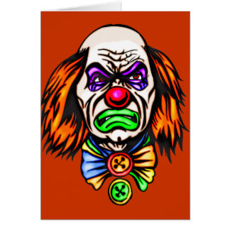 Evil Clown Face Note Card