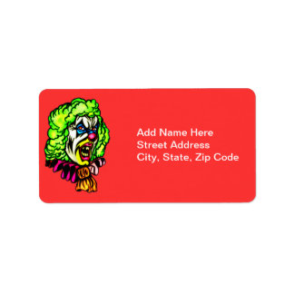 Evil Clown In Curled Wig Address Label