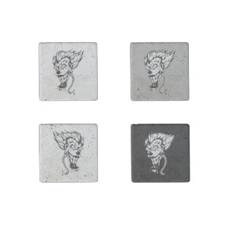 Evil clown Marble Stone Magnets