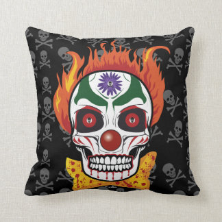 Evil Clown Skull Demon Throw Pillow Home Decor Cushion