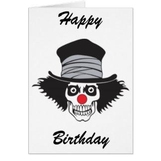 Evil Clown Skull In Top Hat Greeting Card
