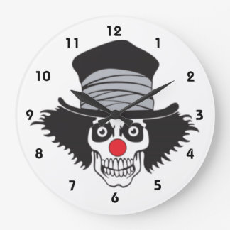 Evil Clown Skull In Top Hat Wall Clock