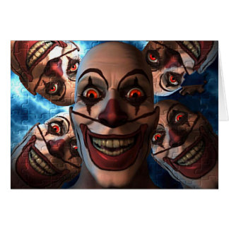 Evil Clowns with Bulging Eyes Greeting Card