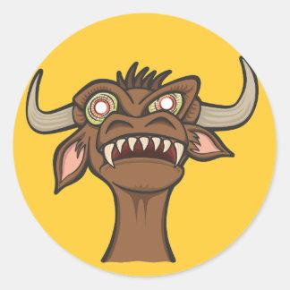 Evil Cow Round Stickers