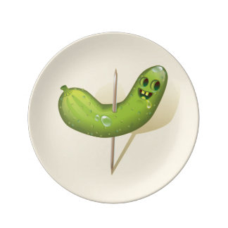 "Evil Cucumber 8.5"" Decorative Porcelain Plate"