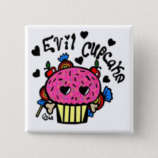 evil cupcake 15 cm square badge