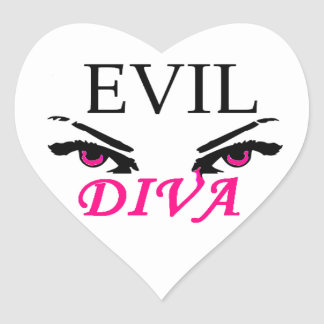 Evil Diva with vampy eyes Heart Sticker