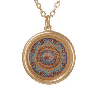Evil Eye Mandala: Good Luck Symbol Round Pendant Necklace