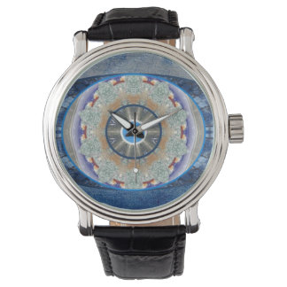 """""""Evil Eye"""" Watch with Vintage Leather Strap"""