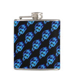 Evil Flaming Blue Skulls Pattern Goth Hip Flasks