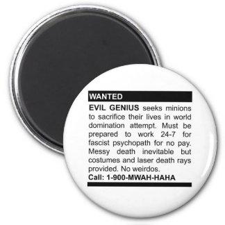 Evil Genius Ad 6 Cm Round Magnet