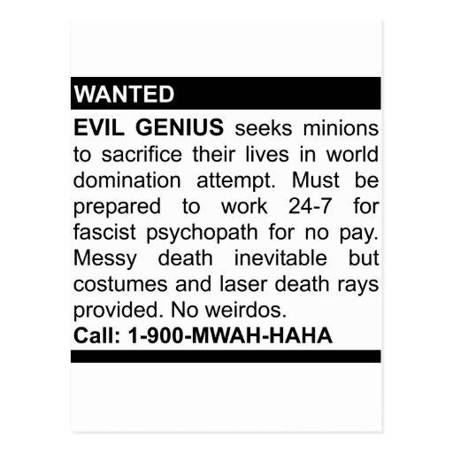 Evil Genius Ad Post Card