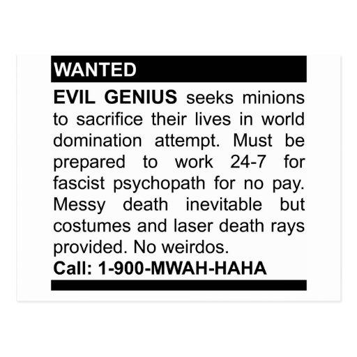 Evil Genius Ad Post Cards