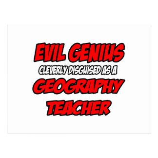 Evil Genius...Geography Teacher Postcard