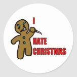 Evil Gingerbread Man Round Stickers