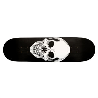Evil Grinning Skull On Black Skateboard
