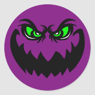 Evil Halloween Ghoul Face Classic Round Sticker