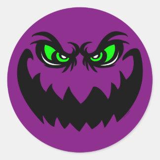Evil Halloween Ghoul Face Round Sticker