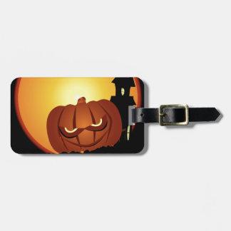 Evil Halloween Pumpkin Scene Luggage Tag