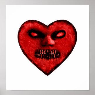 Evil Heart Shape Dark Monster Poster