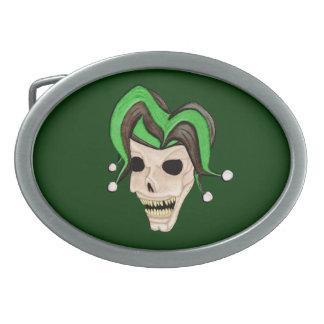 Evil Jester Skull (Green) Belt Buckle