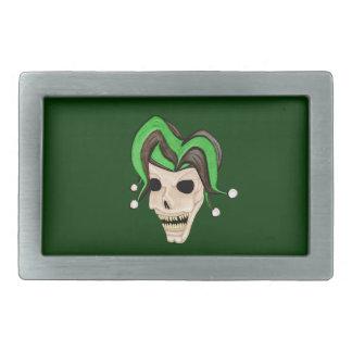 Evil Jester Skull (Green) Rectangular Belt Buckle