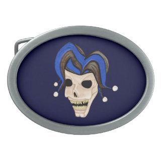 Evil Jester Skull Oval Belt Buckles