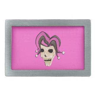 Evil Jester Skull (Pink) Rectangular Belt Buckle