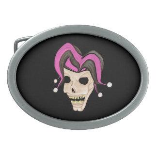 Evil Jester Skull (Pink) Belt Buckle