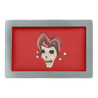 Evil Jester Skull (Red) Belt Buckle