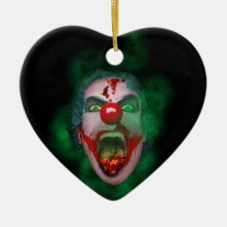 Evil Joker Clown Face Ceramic Heart Decoration