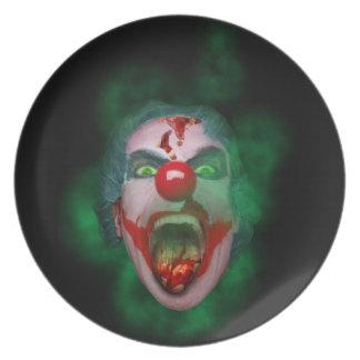 Evil Joker Clown Face Party Plate