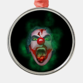 Evil Joker Clown Face Silver-Colored Round Decoration